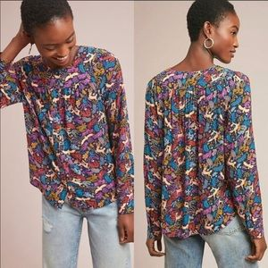 Anthropologie 52 Conversations Printed Blouse